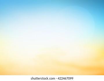 暑假概念:抽象模糊的蓝色,黄色和橙色背景