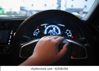Hand on horn. Man Drive a new car. New Design. Man and His Car. Use Horn.