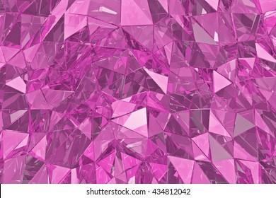 抽象的なガラスの背景。3Dレンダリング、ポリゴンサーフェス。ピンクガラス