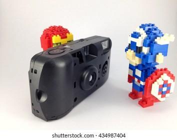 Iron Man and Captain america lego nano on white background