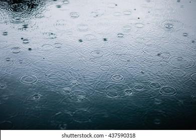 水たまりの水面に雨が値下がりしました。黒い影の段階的な影と青い空の反射