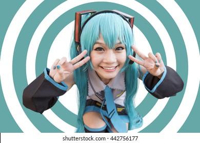 Japón anime cosplay, dibujos animados mujeres