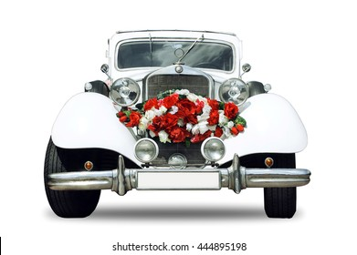 White wedding retro car - isolated object with shadow