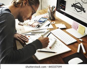 Künstlerischer kreativer Designer Illustrator Grafik-Fähigkeits-Konzept
