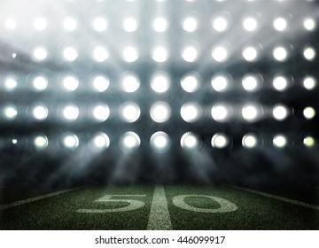 3Dでライトとフラッシュのアメリカンフットボールスタジアム
