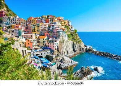 Schöne Aussicht auf Manarola Stadt, Cinque Terre, Ligurien, Italien