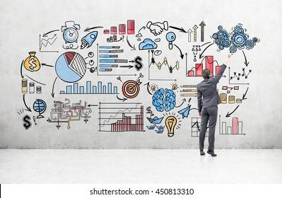 Concepto de negocio con empresario dibujo bosquejo empresarial en muro de hormigón en la habitación