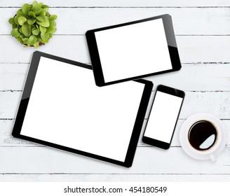 communicator device on white wood table
