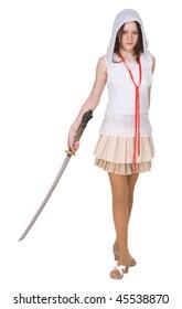 Adolescente femenina con espada tradicional japonesa - katana sobre fondo blanco.
