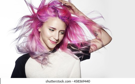 beautiful girl with flying colored hair