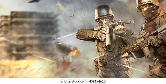 vojaki v polni uniformi s puškami gredo v napad.