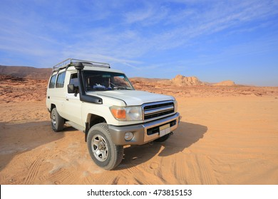 4x4 Jeep Toyota Land Cruiser. Off road car in the desert in Egypt