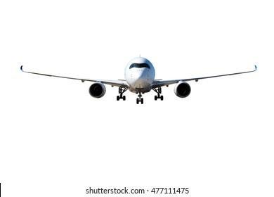 Avión de pasajeros blanco con engranaje. Vista frontal.