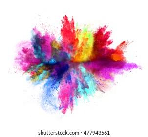 Explosion des farbigen Pulvers, lokalisiert auf weißem Hintergrund