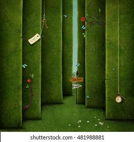 Ilustración conceptual de laberinto verde y objetos de fantasía