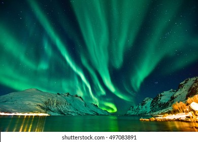 Aurora Borealis in Tromso, Norway in front of the Norwegian fjord, winter season.