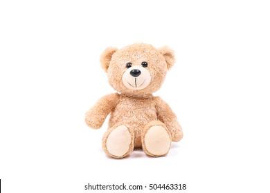 Precioso oso de peluche marrón aislado sobre fondo blanco, simulacro de tarjeta cerebration