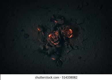 A rose buried in ashes with glowing embers.