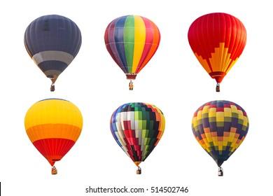 白い背景で隔離のカラフルな熱気球