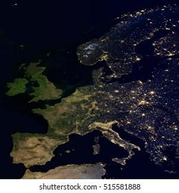 世界地図上の街の明かり。ヨーロッパ。この画像の要素はNASAから提供されています