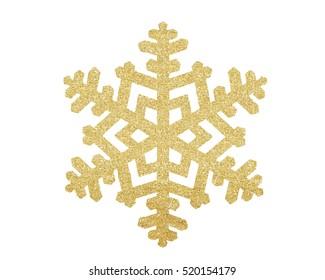 Gouden Kerstmissneeuwvlok die op witte achtergrond wordt geïsoleerd