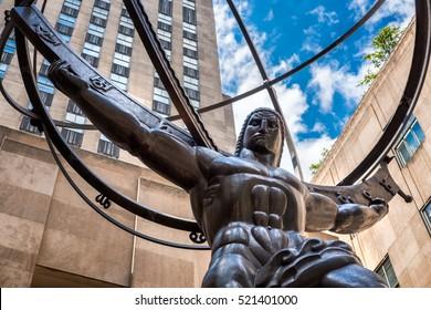 ニューヨーク市の5番街にある天球を保持しているアトラスの像