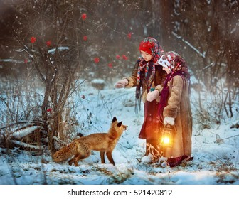 The two sisters met the fox in a forest. Russian folktale