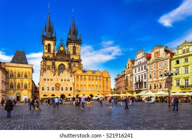 Prague Old Town Square and Church of Mother of God before Tyn in Prague, Czech Republic. Architecture and landmark of Prague, postcard of Prague