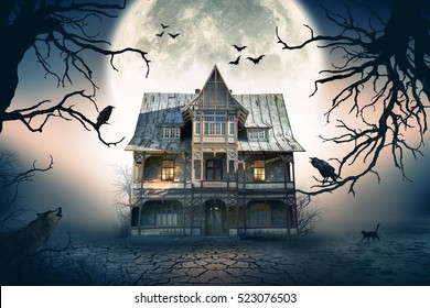 Haunted House with Full Moon in the Background. Haunted House Scene.