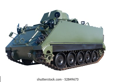 An Armored Personnel Carrier isolated on white