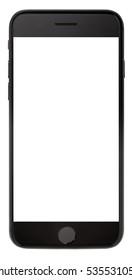白い背景で隔離の空白の画面と現代のスマートフォンの黒い色