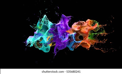 黒の3 dイラストを液体爆発