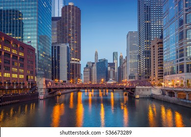 Chicago Downtown. Cityscape image of Chicago downtown during twilight blue hour.