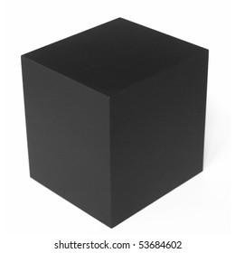 Un cubo negro aislado sobre un fondo blanco.