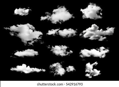 黒の背景に分離された白い雲のコレクション
