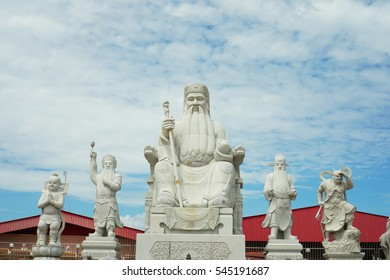 Chinese god statues in Chinese temple, Perak Malaysia with blue sky background