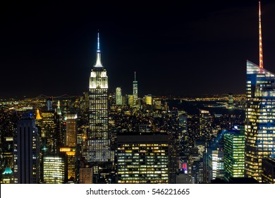 Empire state night scene, New York, USA