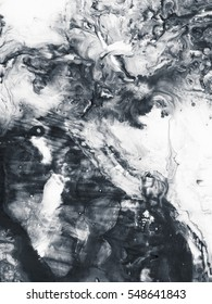 Abstract hand painted black and white background, acrylic painting on canvas, wallpaper, texture.
