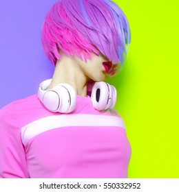 Model DJ Creative pop art style. Minimal design fashion Sweet colors