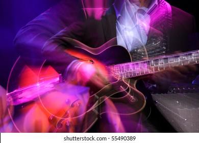 抽象的なズームギターとパフォーマーがステージに手します。