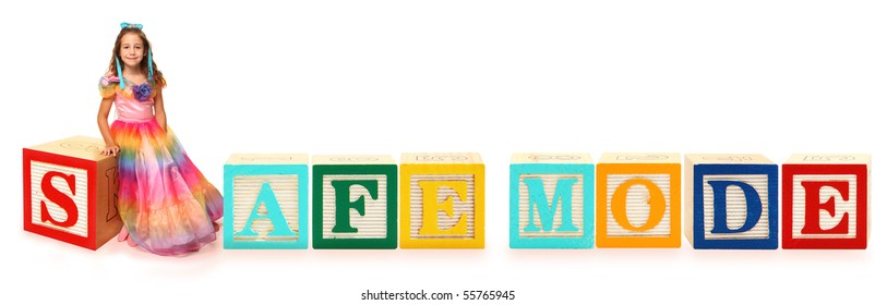 Bloques de letras de colores que deletrean la palabra MODO SEGURO