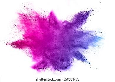 Explosion von farbigem Pulver auf weißem Hintergrund