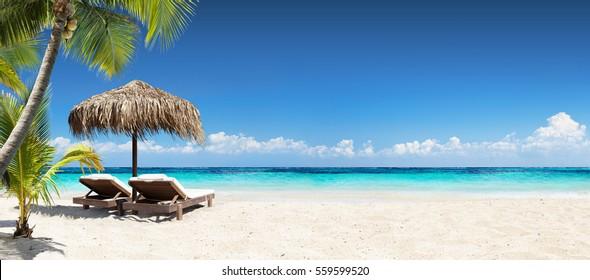 Stühle und Regenschirm in Palm Beach - tropisches Feiertagsbanner