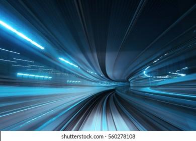 Bewegungsunschärfe des Zuges, der sich innerhalb des Tunnels bewegt