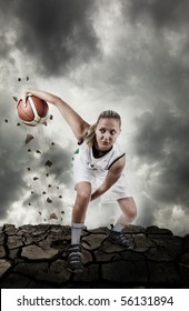 Basketball player running on grungy surface, real motion blur, artistic noise added for action