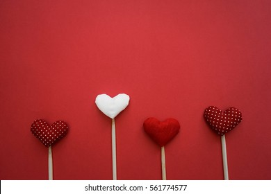 Colorful paper hearts on line as a gift for Valentine's Day.Heart is fall love. Frame