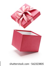 Pink open gift box isolated on white background
