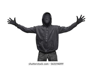 Porträt des Hacker-Mannes mit Maske lokalisiert gegen weißen Hintergrund