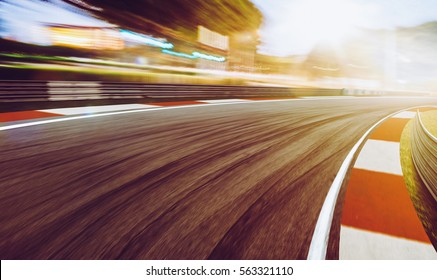 Motion blurred racetrack,sunset scene