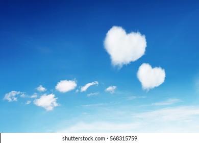 it is two heart clouds on blue sky.